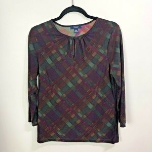 Chaps Top Large 3/4 Sleeve Keyhole Neck Stretch